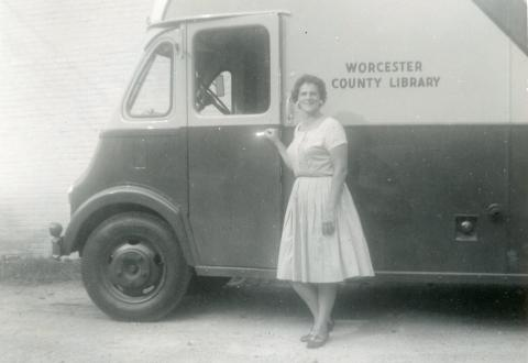 Worcester County Library Bookmobile and librarian, dating from the 1960s